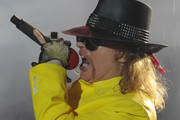 An upright Axl Rose / Photo by Vanderlei Almeida/AFP/Getty