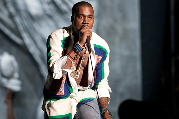 Kanye West in a summery blouse at Coachella last year / Photo by Erik Voake