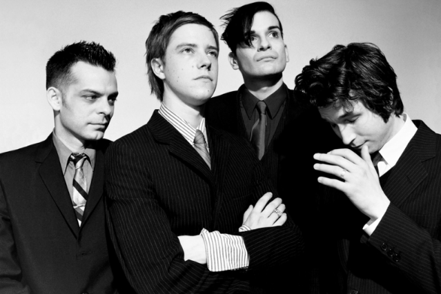Interpol in 2002: Sam Fogarino, Paul Banks, Carlos D., Daniel Kessler