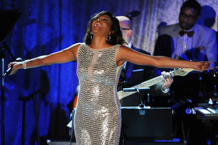 Whitney Houston onstage at Clive Davis' 2011 pre-Grammy gala [Photo: Mark Ralston/Getty Images]