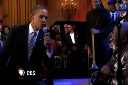 President Barack Obama sings with Mick Jagger, B.B. King, Buddy Guy