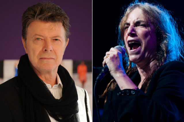 David Bowie / Patti Smith (Photo: Getty Images, Bowie; Josh Sisk, Smith)