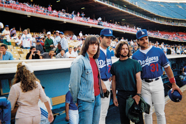 Johnny and Eddie Vedder Visit the L.A. Dodgers Dugout