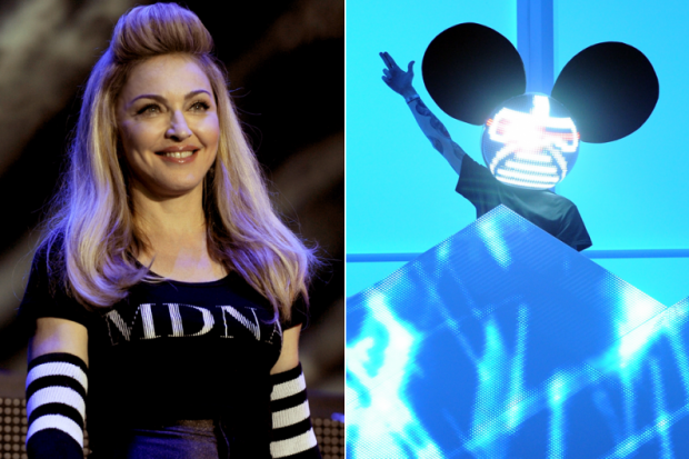 Madonna (Tim Mosenfelder/Getty) / Deadmau5 (Jason Merritt/Getty)