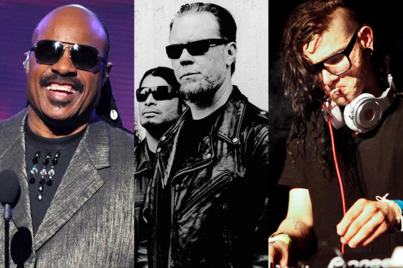 Stevie Wonder (Getty) / Metallica (Anton Corbijn) / Skrillex (Ian Witlen)