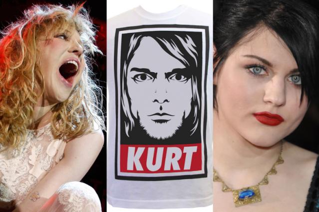 Courtney Love / Cobain t-shirt / Francis Bean (Photo: Getty Images, Love/Bean; kurt-cobain-shirts.blogspot.com)
