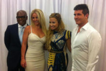L.A. Reid, Britney Spears, Demi Lovato and Simon Cowell at Fox's Upfront Presentation / Photo by @justsimoncowell