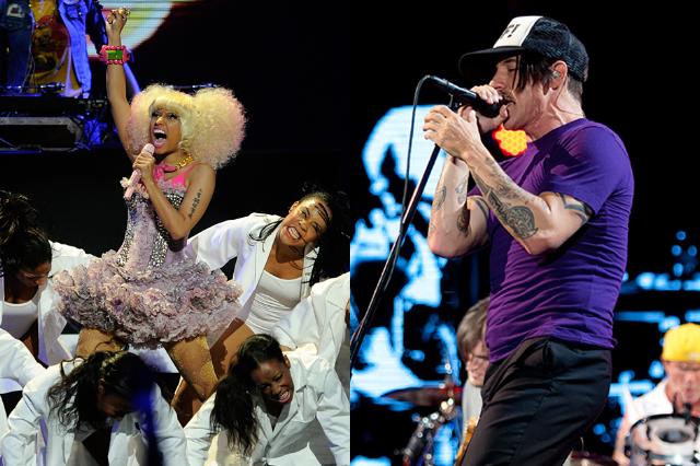 Nicki Minaj / Anthony Kiedis (Photo: Ethan Miller/Getty Images for Clear Channel, Minaj; Chad Kamenshine, Kiedis)