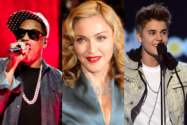 Jay-Z, Madonna, Justin Bieber / Photo: Getty Images