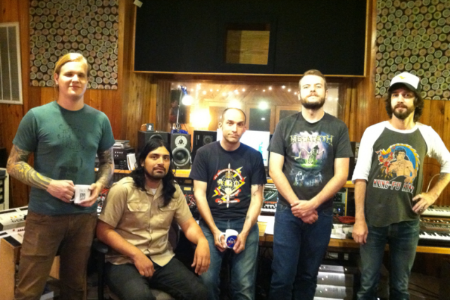 The Sword's Kyle Shutt, Jimmy Vela, producer J. Robbins, Bryan Richie, J.D. Cronise