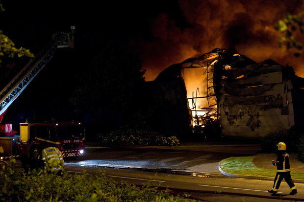 Sony's warehouse, ablaze / Photo by Getty Images