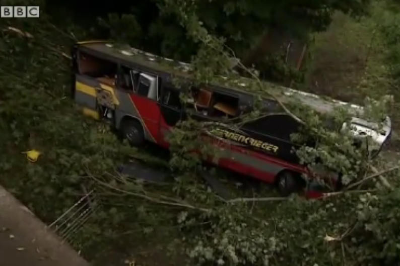 Baroness' crashed bus / Screengrab via the BBC's footage