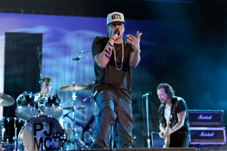 Jay-Z and Pearl Jam / Photo by Kevin Mazur/WireImage