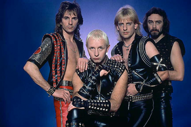 Rob Halford (front) with the 'Screaming' era Judas Priest lineup