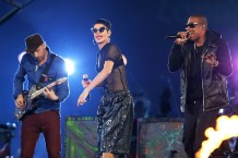 Coldplay's Will Champion, Rihanna, and Jay-Z / Photo by Getty Images