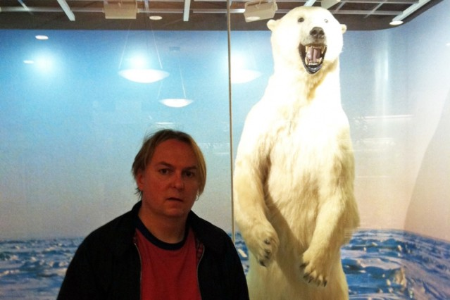 Dale in Alaska, posing with the same polar Bear Ringo did / Photo Courtesy of the Melvins