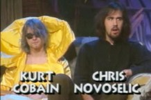Kurt Cobain and Krist Novoselic appear on 'Headbangers Ball' in 1991 / Photo via MTV