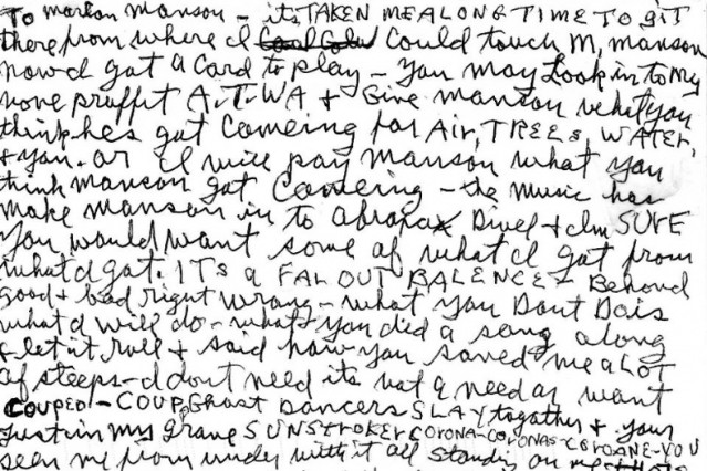 Charles Manson writes letter to Marilyn Manson