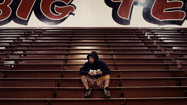 Kendrick Lamar at Centennial High School, Compton, 2012 / Photo by Dan Monick