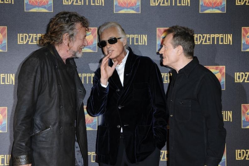 Led Zeppelin's Robert Plant, Jimmy Page, and John Paul Jones