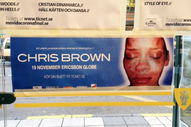 Chris Brown Sweden Rihanna Battered Protest