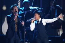fun.'s Nate Ruess and Janelle Monáe perform at the Grammy nominations concert