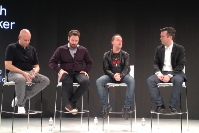 Spotify founder Daniel Ek, Napster's Sean Parker, Metallica's Lars Ulrich of Metallica, HuffPo's Marc Hogan