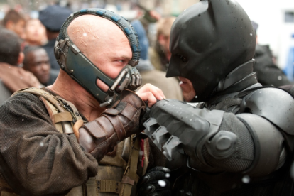 Tom Hardy and Christian Bale in 'The Dark Knight Rises'
