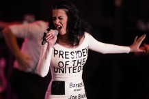 Katy Perry dressed as a voting ballot