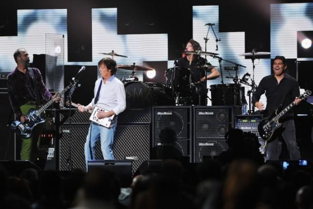 Krist Novoselic, Paul McCartney, Dave Grohl, and Pat Smear