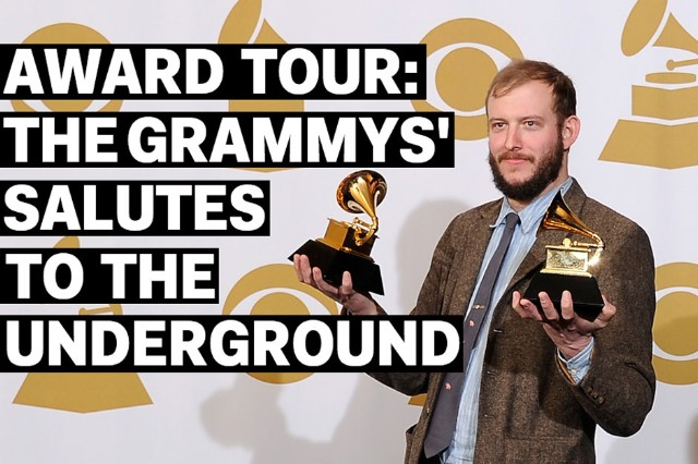 Justin Vernon of Bon Iver wins two Grammys for Best Alternative Music Album and Best New Artist in 2012 / Photo by Kevork Djansezian/Getty Images
