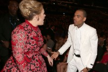 adele yells at chris brown at the Grammys