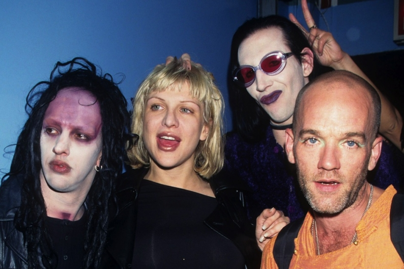 Twiggy Ramirez, Courtney Love, Marilyn Manson and Michael Stipe at Radiohead's June 9, 1997 show in NYC / Photo by Getty Images