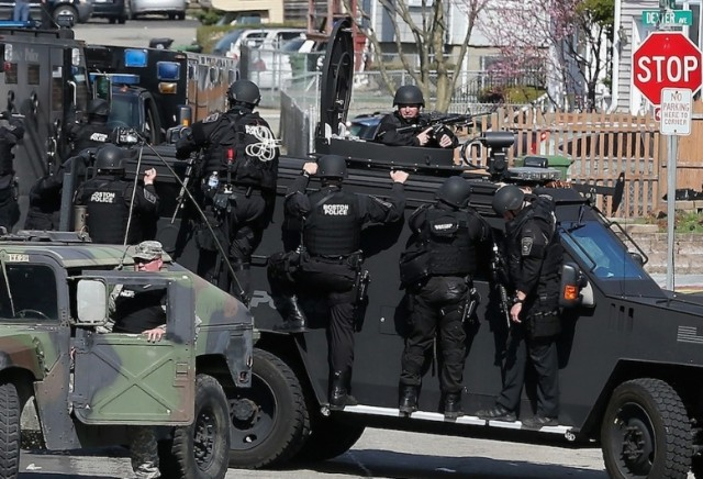 Police presence in Watertown, MA. / Mario Tama/Getty