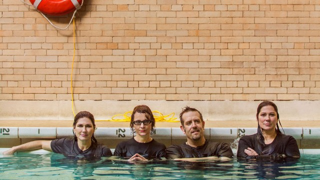 The Breeders, shot for SPIN at the Metropolitan Recreation Center pool, Brooklyn, New York, 2013 / Photo by Andrew Kuykendall / Hair and Makeup by Sylvester Castellano for Christian Dior Beauty