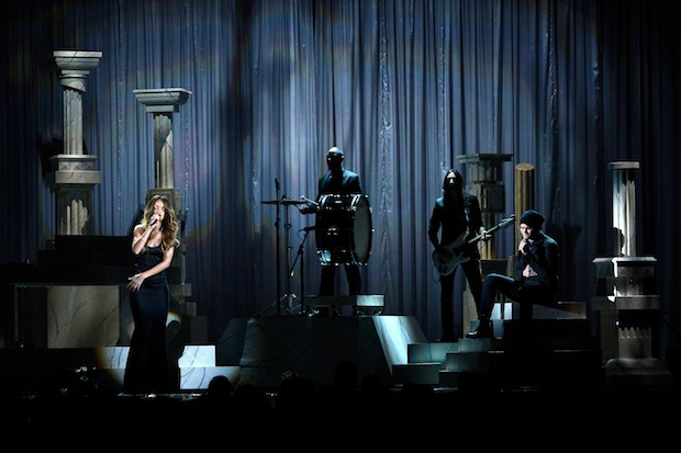 Mikky Ekko onstage with Rihanna at the Grammy Awards