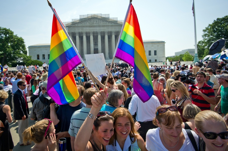 People gathered outside the US Supreme Court in Washington, DC on June 26, 2013