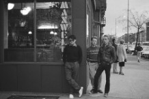 The Bongos in front of Maxwells in 1980