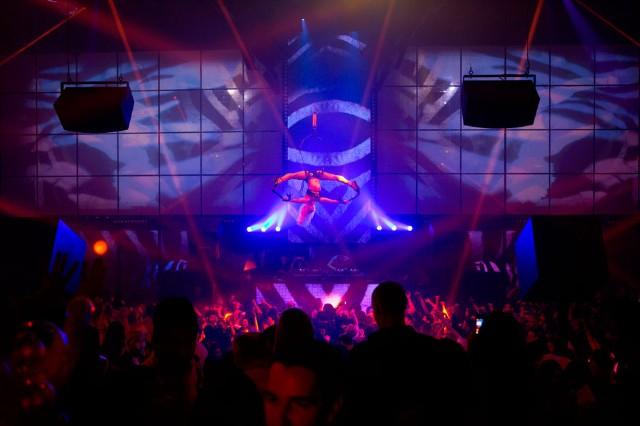 A Cirque Du Soleil Aerial Performer Entertains The Crowd At Light Nightclub  Inside Mandalay Bay Hotel