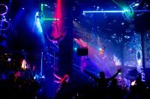 Cirque du Soleil aerial performers entertain the crowd at Light Nightclub inside Mandalay Bay Hotel & Casino in Las Vegas on July 5, 2013