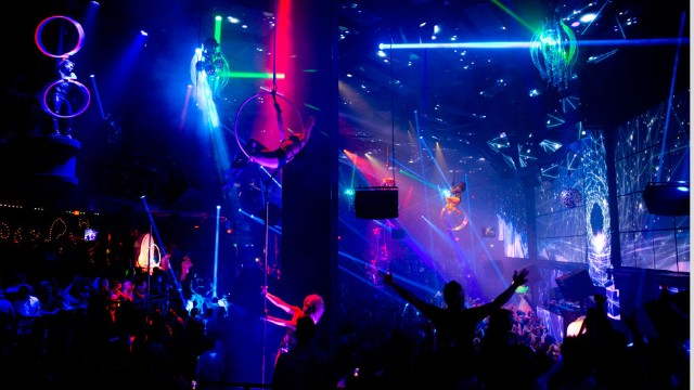 Cirque du Soleil aerial performers entertain the crowd at Light Nightclub inside Mandalay Bay Hotel & Casino in Las Vegas on July 5, 2013