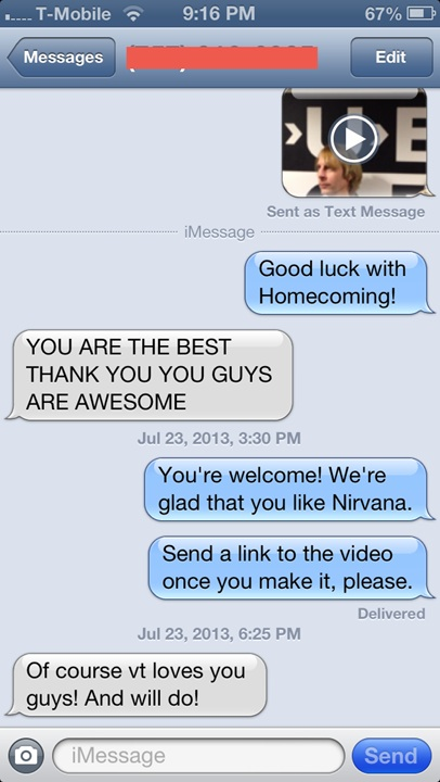 Nirvana, iPhone, Virginia Tech, homecoming video, Sub Pop