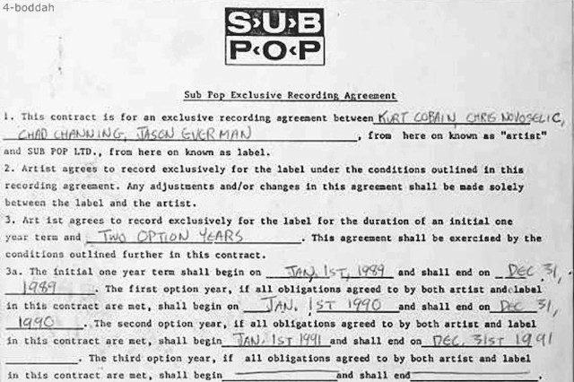 NIrvana, Sub Pop, contract