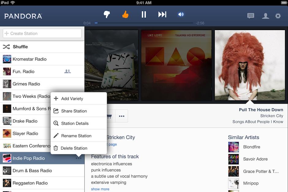 Pandora, licensing, court, case, songwriters, iPad app, redesign, iTunes Radio