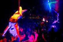 Cirque du Soleil aerial performers entertain the crowd at Light Nightclub inside Mandalay Bay Hotel & Casino in Las Vegas on July 5, 2013.
