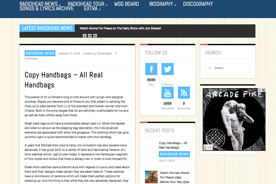 Radiohead Fan Site Hacked At Ease Atoms for Peace Making Of