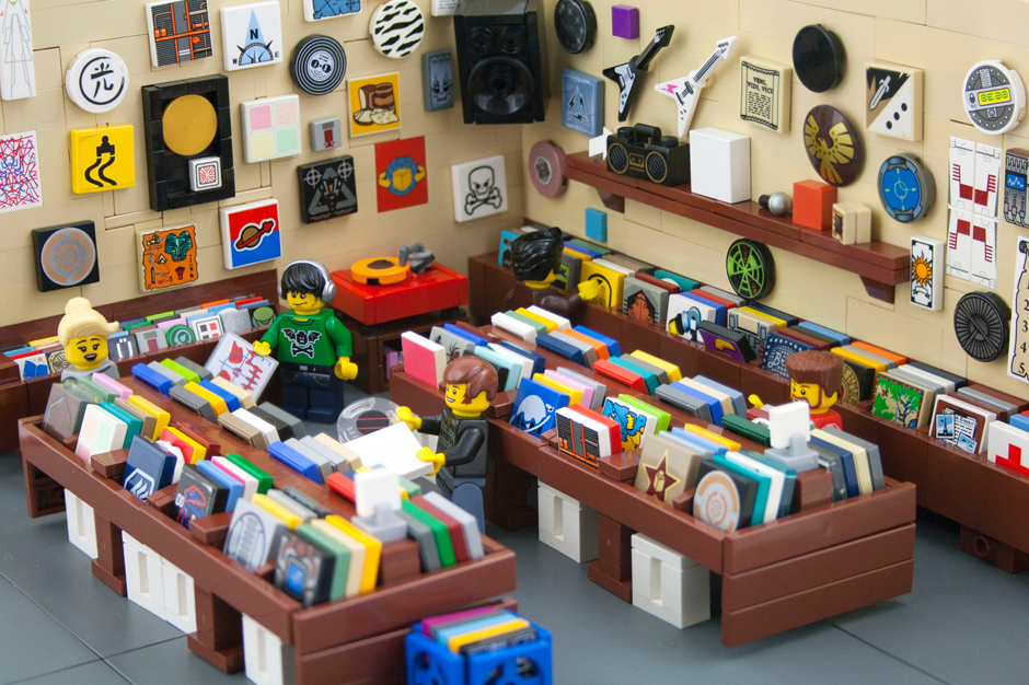 here is a tiny record store made from legos you re. Black Bedroom Furniture Sets. Home Design Ideas