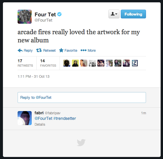 Four Tet Twitter Album Cover Arcade Fire Reflektor Beautiful Rewind