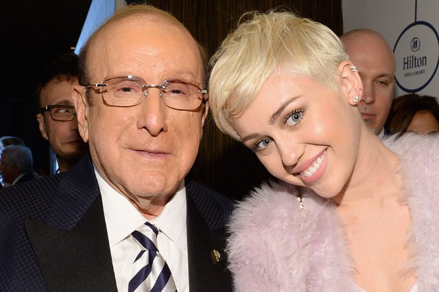 Clive Davis and Miley Cyrus at the Clive Davis And The Recording Academy Annual Pre-Grammy Gala, Los Angeles, January 25, 2014