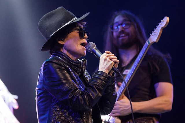 Yoko Ono and Sean Lennon at Amnesty International Bringing Human Rights Home, Brooklyn, February 5, 2014
